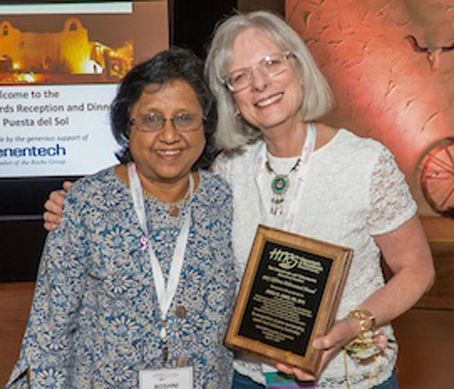 Dr. Andi James (right), recipient of the HTRS 2017 Lifetime Achievement Award, with her nominator